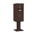 Salsbury Industries 3410S-02BRZ Pedestal Mounted 4C Horizontal Mailbox Unit - 10 Door High Unit (65-5/8 Inches) - Single Column - 2 MB1 Doors / 1 PL6 - Bronze