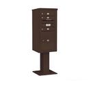 Salsbury Industries 3410S-03BRZ Pedestal Mounted 4C Horizontal Mailbox Unit - 10 Door High Unit (65-5/8 Inches) - Single Column - 3 MB1 Doors / 1 PL5 - Bronze
