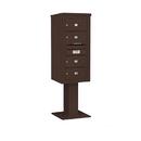 Salsbury Industries 3410S-04BRZ Pedestal Mounted 4C Horizontal Mailbox Unit - 10 Door High Unit (65-5/8 Inches) - Single Column - 4 MB2 Doors - Bronze