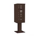 Salsbury Industries 3410S-05BRZ Pedestal Mounted 4C Horizontal Mailbox Unit - 10 Door High Unit (65-5/8 Inches) - Single Column - 5 MB1 Doors / 1 PL3 - Bronze