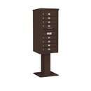 Salsbury Industries 3410S-08BRZ Pedestal Mounted 4C Horizontal Mailbox Unit - 10 Door High Unit (65-5/8 Inches) - Single Column - 8 MB1 Doors - Bronze