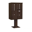 Salsbury Industries 3411D-09BRZ Pedestal Mounted 4C Horizontal Mailbox Unit - 11 Door High Unit (69 1/8 Inches) - Double Column - 9 MB1 Door / 1 PL5 and 1 PL6 - Bronze