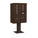 Salsbury Industries 3411D-10BRZ Pedestal Mounted 4C Horizontal Mailbox Unit - 11 Door High Unit (69-1/8 Inches) - Double Column - 10 MB1 Doors / 2 PL5's - Bronze
