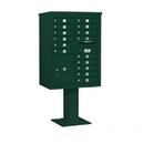 Salsbury Industries 3411D-15GRN Pedestal Mounted 4C Horizontal Mailbox Unit - 11 Door High Unit (69-1/8 Inches) - Double Column - 15 MB1 Doors / 1 PL5 - Green