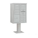 Salsbury Industries 3411D-15GRY Pedestal Mounted 4C Horizontal Mailbox Unit - 11 Door High Unit (69-1/8 Inches) - Double Column - 15 MB1 Doors / 1 PL5 - Gray