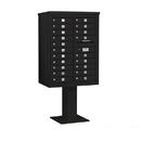 Salsbury Industries 3411D-20BLK Pedestal Mounted 4C Horizontal Mailbox Unit - 11 Door High Unit (69-1/8 Inches) - Double Column - 20 MB1 Doors - Black