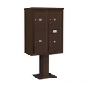 Salsbury Industries 3411D-4PBRZ Pedestal Mounted 4C Horizontal Mailbox Unit - 11 Door High Unit (69 1/8 Inches) - Double Column - Stand-Alone Parcel Locker - 3 PL5's and 1 PL6 - Bronze