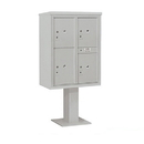 Salsbury Industries 3411D-4PGRY Pedestal Mounted 4C Horizontal Mailbox Unit - 11 Door High Unit (69 1/8 Inches) - Double Column - Stand-Alone Parcel Locker - 3 PL5's and 1 PL6 - Gray