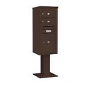 Salsbury Industries 3411S-02BRZ Pedestal Mounted 4C Horizontal Mailbox Unit - 11 Door High Unit (69-1/8 Inches) - Single Column - 2 MB2 Doors / 1 PL5 - Bronze