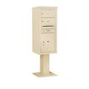 Salsbury Industries 3411S-02SAN Pedestal Mounted 4C Horizontal Mailbox Unit - 11 Door High Unit (69-1/8 Inches) - Single Column - 2 MB2 Doors / 1 PL5 - Sandstone