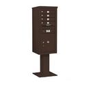 Salsbury Industries 3411S-04BRZ Pedestal Mounted 4C Horizontal Mailbox Unit - 11 Door High Unit (69-1/8 Inches) - Single Column - 4 MB 1 Doors / 1 PL5 - Bronze