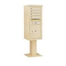 Salsbury Industries 3411S-04SAN Pedestal Mounted 4C Horizontal Mailbox Unit - 11 Door High Unit (69-1/8 Inches) - Single Column - 4 MB 1 Doors / 1 PL5 - Sandstone