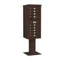 Salsbury Industries 3411S-09BRZ Pedestal Mounted 4C Horizontal Mailbox Unit - 11 Door High Unit (69-1/8 Inches) - Single Column - 9 MB1 Doors - Bronze