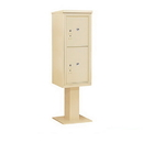 Salsbury Industries 3411S-2PSAN Pedestal Mounted 4C Horizontal Mailbox Unit - 11 Door High Unit (69-1/8 Inches) - Single Column - Stand-Alone Parcel Locker - 1 PL5 and 1 PL6 - Sandstone