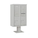 Salsbury Industries 3413D-12GRY Pedestal Mounted 4C Horizontal Mailbox Unit - 13 Door High Unit (63-1/4 Inches) - Double Column - 12 MB1 Doors / 2 PL6's - Gray