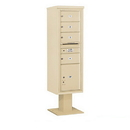 Salsbury Industries 3415S-04SAN Pedestal Mounted 4C Horizontal Mailbox Unit - 15 Door High Unit (70-1/4 Inches) - Single Column - 4 MB2 Doors / 1 PL5 - Sandstone