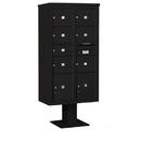 Salsbury Industries 3416D-07BLK Pedestal Mounted 4C Horizontal Mailbox Unit - Maximum Height (72 Inches) - Double Column - 1 MB2 Door / 6 MB3 Doors / 2 PL4.5's - Black