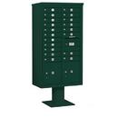 Salsbury Industries 3416D-19GRN Pedestal Mounted 4C Horizontal Mailbox Unit - Maximum Height (72 Inches) - Double Column - 19 MB1 Doors / 2 PL4.5's - Green