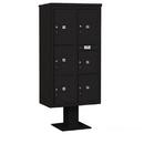 Salsbury Industries 3416D-6PBLK Pedestal Mounted 4C Horizontal Mailbox Unit - Maximum High (72 Inches) - Double Column - Stand-Alone Parcel Locker - 1 PL4, 2 PL4.5's, 1 PL5 and 2 PL6's - Black