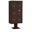 Salsbury Industries 3416D-6PBRZ Pedestal Mounted 4C Horizontal Mailbox Unit - Maximum High (72 Inches) - Double Column - Stand-Alone Parcel Locker - 1 PL4, 2 PL4.5's, 1 PL5 and 2 PL6's - Bronze