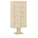 Salsbury Industries 3416D-6PSAN Pedestal Mounted 4C Horizontal Mailbox Unit - Maximum High (72 Inches) - Double Column - Stand-Alone Parcel Locker - 1 PL4, 2 PL4.5's, 1 PL5 and 2 PL6's - Sandstone