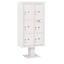 Salsbury Industries 3416D-6PWHT Pedestal Mounted 4C Horizontal Mailbox Unit - Maximum High (72 Inches) - Double Column - Stand-Alone Parcel Locker - 1 PL4, 2 PL4.5's, 1 PL5 and 2 PL6's - White