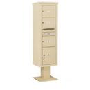 Salsbury Industries 3416S-03SAN Pedestal Mounted 4C Horizontal Mailbox Unit - Maximum Height (72 Inches) - Single Column - 3 MB3 Doors / 1 PL4.5 - Sandstone