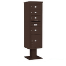 Salsbury Industries 3416S-04BRZ Pedestal Mounted 4C Horizontal Mailbox Unit - Maximum Height (72 Inches) - Single Column - 3 MB2 Doors / 1 MB3 Door / 1 PL4.5 - Bronze