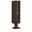Salsbury Industries 3416S-09BRZ Pedestal Mounted 4C Horizontal Mailbox Unit - Maximum Height (72 Inches) - Single Column - 9 MB1 Doors / 1 PL4.5 - Bronze