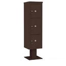 Salsbury Industries 3416S-3PBRZ Pedestal Mounted 4C Horizontal Mailbox Unit - Maximum High (72 Inches) - Single Column - Stand-Alone Parcel Locker - 1 PL4.5, 1PL5 and 1 PL6 - Bronze