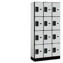 Salsbury Industries 34365GRY Designer Wood Locker - Four Tier - 3 Wide - 6 Feet High - 15 Inches Deep - Gray
