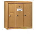 Salsbury Industries 3503BSP Vertical Mailbox (Includes Master Commercial Lock) - 3 Doors - Brass - Surface Mounted - Private Access