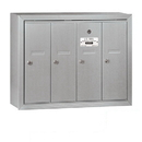Salsbury Industries 3504ASP Vertical Mailbox (Includes Master Commercial Lock) - 4 Doors - Aluminum - Surface Mounted - Private Access