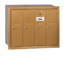 Salsbury Industries 3504BRP Vertical Mailbox (Includes Master Commercial Lock) - 4 Doors - Brass - Recessed Mounted - Private Access