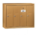 Salsbury Industries 3504BSP Vertical Mailbox (Includes Master Commercial Lock) - 4 Doors - Brass - Surface Mounted - Private Access