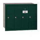 Salsbury Industries 3504GRP Vertical Mailbox (Includes Master Commercial Lock) - 4 Doors - Green - Recessed Mounted - Private Access