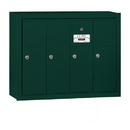 Salsbury Industries 3504GSP Vertical Mailbox (Includes Master Commercial Lock) - 4 Doors - Green - Surface Mounted - Private Access