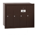 Salsbury Industries 3504ZRP Vertical Mailbox (Includes Master Commercial Lock) - 4 Doors - Bronze - Recessed Mounted - Private Access