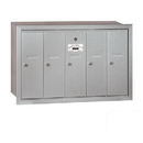 Salsbury Industries 3505ARP Vertical Mailbox (Includes Master Commercial Lock) - 5 Doors - Aluminum - Recessed Mounted - Private Access