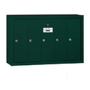 Salsbury Industries 3505GSP Vertical Mailbox (Includes Master Commercial Lock) - 5 Doors - Green - Surface Mounted - Private Access