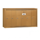Salsbury Industries 3506BSP Vertical Mailbox (Includes Master Commercial Lock) - 6 Doors - Brass - Surface Mounted - Private Access