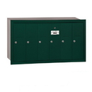 Salsbury Industries 3506GRU Vertical Mailbox - 6 Doors - Green - Recessed Mounted - USPS Access