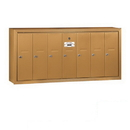 Salsbury Industries 3507BSP Vertical Mailbox (Includes Master Commercial Lock) - 7 Doors - Brass - Surface Mounted - Private Access