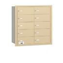 Salsbury Industries 3610SRP 4B+ Horizontal Mailbox - 10 B Doors - Sandstone - Rear Loading - Private Access