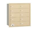 Salsbury Industries 3610SRU 4B+ Horizontal Mailbox - 10 B Doors - Sandstone - Rear Loading - USPS Access