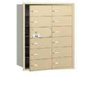 Salsbury Industries 3612SFP 4B+ Horizontal Mailbox (Includes Master Commercial Lock) - 12 B Doors (11 usable) - Sandstone - Front Loading - Private Access