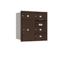 Salsbury Industries 3708D-04ZRP Recessed Mounted 4C Horizontal Mailbox - 8 Door High Unit (30 1/2 Inches) - Double Column - 4 MB2 Doors / 1 PL6 - Bronze - Rear Loading - Private Access