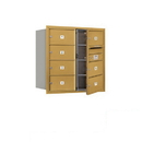 Salsbury Industries 3708D-07GFP Recessed Mounted 4C Horizontal Mailbox (Includes Master Commercial Lock)-8 Door High Unit (30 1/2 Inches)-Double Column-7 MB2 Doors-Gold-Front Loading-Private Access