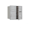 Salsbury Industries 3708D-09AFU Recessed Mounted 4C Horizontal Mailbox - 8 Door High Unit (30 1/2 Inches) - Double Column - 9 MB1 Doors / 1 PL5 - Aluminum - Front Loading - USPS Access