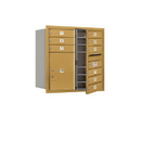 Salsbury Industries 3708D-09GFU Recessed Mounted 4C Horizontal Mailbox - 8 Door High Unit (30 1/2 Inches) - Double Column - 9 MB1 Doors / 1 PL5 - Gold - Front Loading - USPS Access